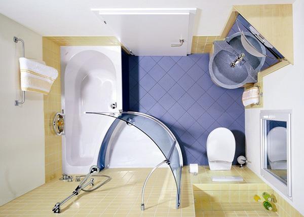 Mẫu thiết kế mẫu vách kính phòng tắm nhỏ diện tích dưới 3,5M2