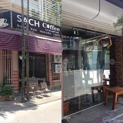 Thi công cửa kính lùa tại quán Sạch Coffee Yên Hòa Cầu Giấy
