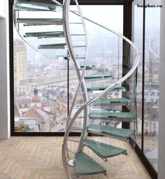 Cầu thang kính đẹp