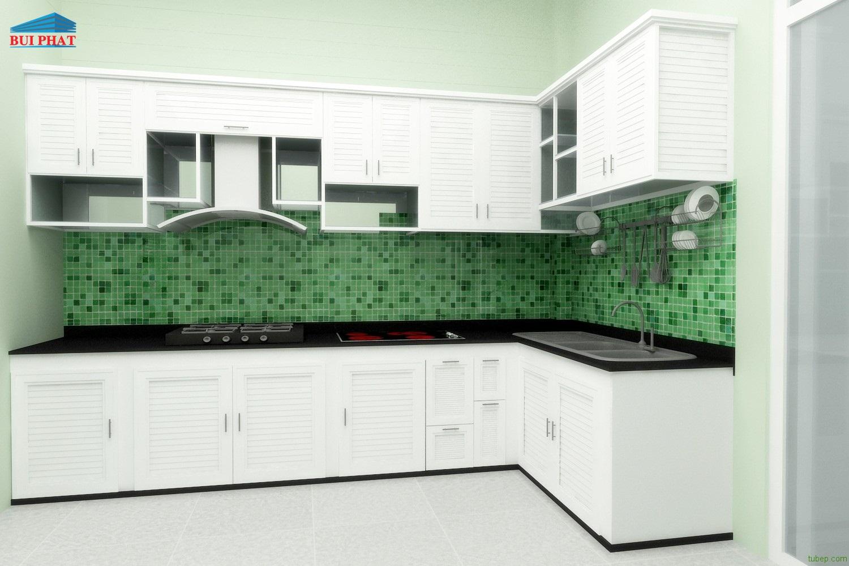 Tủ bếp nhôm kính trắng sứ