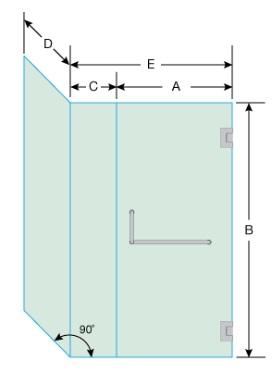 Bản vẽ vách tắm kính vuông góc