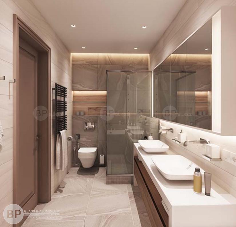 Vách tắm bằng kính góp phần làm không gian nhà tắm thêm sang trọng
