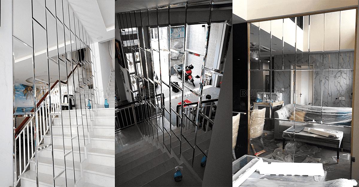 Mẫu gương trang trí dán tường lối lên cầu thang cho biệt thự